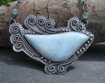 Blue Aragonite and Sterling Silver Bird Statement Necklace with Aquamarine - Oxidized Silver with Twisted Rope and Granulation Bluebird