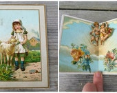 Vintage Antique 1850/1900 French Valentine die cut pop up chromolithograph card
