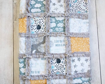 Moon Cloud and Stars Minky Rag Quilt - Gender Neutral Nursery Bedding - Moon Cloud and Stars Crib Bedding - Gender Neutral Gift - Baby Quilt
