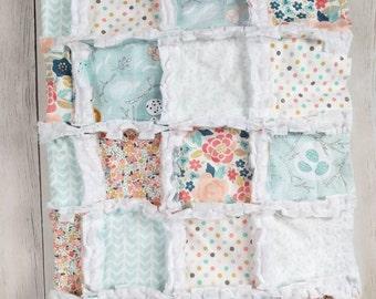 Floral Woodland Quilt - Robin's Egg Blue Quilt - Floral Crib Bedding - Woodland Crib Bedding - Floral Baby Blanket - Woodland Baby Blanket
