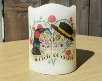 Till Death Do Us Part Day of the Dead Flameless Pillar Candle