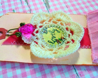 Gift tag - handmade, pink Lovely
