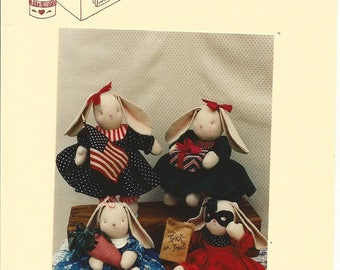 Holiday Hattie, Stuffed Bunny Rabbits, Twice as Nice Designs, 12 inch tall Rabbits, Sewing Pattern,Country Decor,Vintage 1990,Rabbit Clothes