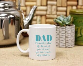 Personalized Dad Father's Day Coffee Mug from Children, Custom Print Coffee Mug, Ceramic Coffee Mug, White Only --27109-CM03-601