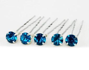 Blue Zircon Rhinestone Hair Pins - Blue Zircon Crystal Hair Pins, Blue Zircon Wedding Hair Pins - 7mm/5 qty - FLAT RATE SHIPPING