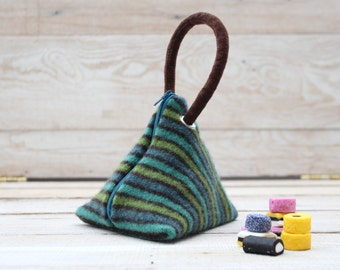Triangle Pouch in Teal Green Turquoise and Brown Stripes
