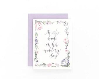 Fleurs à la mariée le jour de son mariage ~ carte de voeux