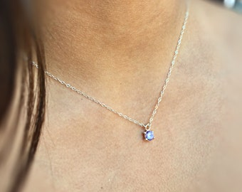 Tiny Necklace Crystal Necklace Minimalist Necklace Cubic Zirconia Jewelry Bridesmaids Jewelry Gift for Her Minimal Jewelry