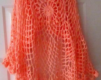 Womens Accessory Shawl Wrap Crochet Ladies Shawl Wrap Hand Crochet Wedding Shawl Spring Summer Fall Winter Fashion Accessory Peach Shawl