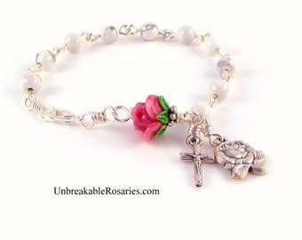 Virgin Mary Rosary Bracelet in White Magnesite w Pink Lampwork Rose by Unbreakable Rosaries