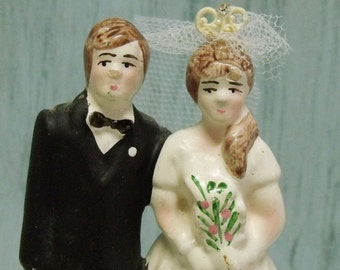 Vintage Bride Groom wedding cake topper