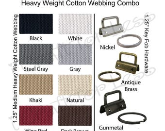 10 Key Fob Hardware / 5 Yards Medium-Heavy Cotton Webbing Combo - 1.25 Inch - Plus Instructions - SEE COUPON