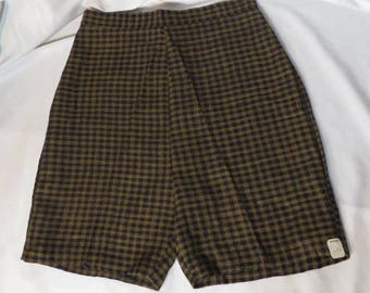 Vintage 50s Shorts High Waist Back Metal Zipper Rockabilly VLV Pinup MCM New Old Stock Gingham Check Black Taupe