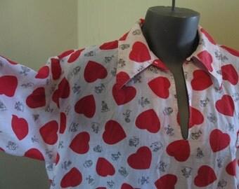 60s Zodiac Hearts Pajama Nightshirt Vintage Novelty Print Pajamas Red Hearts Zodiac Print Cotton sleepwear 60s vintage sleepwear L XL