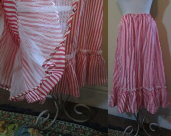 Vintage 50s Red Stripe Half Slip Red satin Ruffle slip white net and satin half slip 1950s half slip s