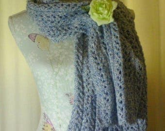 Blue and white lacy knit shawl
