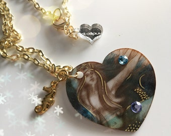 Starbucks Mermaid trashart laser cut necklace