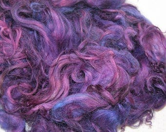 Karakul Sheep Wool Locks for Spinning Felting and Doll Hair, Doll Wig, Troll Hair, Hand Dyed shades of Purple with Pink and Blue 1 oz.