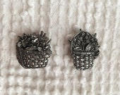 Vintage Pewter Button Covers - Set of 2 - Baskets of Flowers - Unique and Pretty Gift for a Basket or Flower Lover
