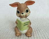 Vintage Brown Bunny Figurine - Reading Peter Rabbit Book - Perfect for Easter and Spring