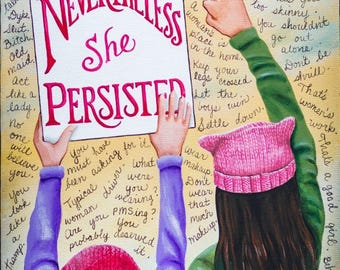 NEVERTHELESS SHE PERSISTED - 10 x 20 Print of Original Acrylic Painting by Carolee Clark, King of Mice Studios