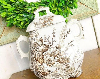 Farmhouse Style... Antique Vintage Transferware Ironstone Brown Floral Sugar Bowl Farmhouse Home Decor Vase