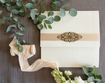 Liz's Silk Wrapped Winter Wedding Invitation - SAMPLE