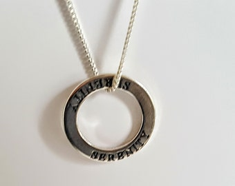 """Sterling Silver Affirmation Ring """"Serenity"""" Necklace"""