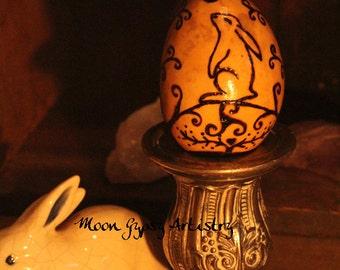 Pyrography Ostara Egg Gourd-Spring Equinox Altar-Hare-Rabbit-Renewal-Handmade Woodburning