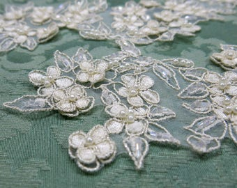 Vintage Pearl and Glass Beaded Lace Embellishments, Ivory, Flowers ... Wedding, Bride, Bridal ... Set of 2 large, long appliques