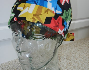 Tie Back Surgical Scrub Hat with Christmas Bows