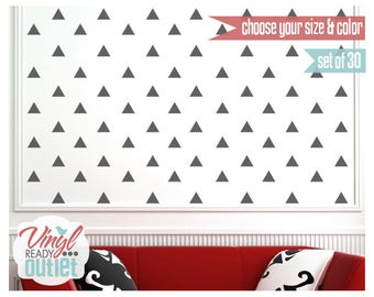 Triangle Vinyl Wall Decals - Set of 30 - Pick your Size & Color!