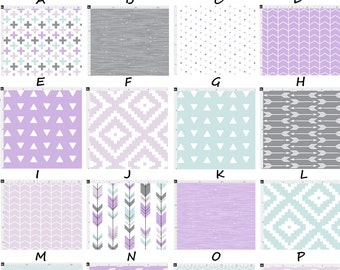 Purple Mint and Grey Rustic Arrows Aztec Woodgrain Chevron Baby Nursery Crib Bedding Set made with Designer fabric CHOOSE and CUSTOMIZE