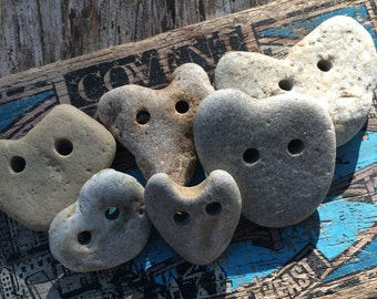 NATURAL HEARTS...6 buttons hand drilled beach finds