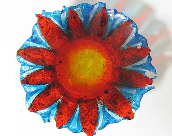 Fused Glass Sunburst Sunflower Bowl with Copper Ring Display Stand
