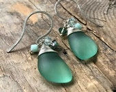 Seafoam Small Sea Glass Earrings With Crystal Eclipse Sterling Silver Summer Beach Weddings Mothers Day Gifts Under 50 Beachy