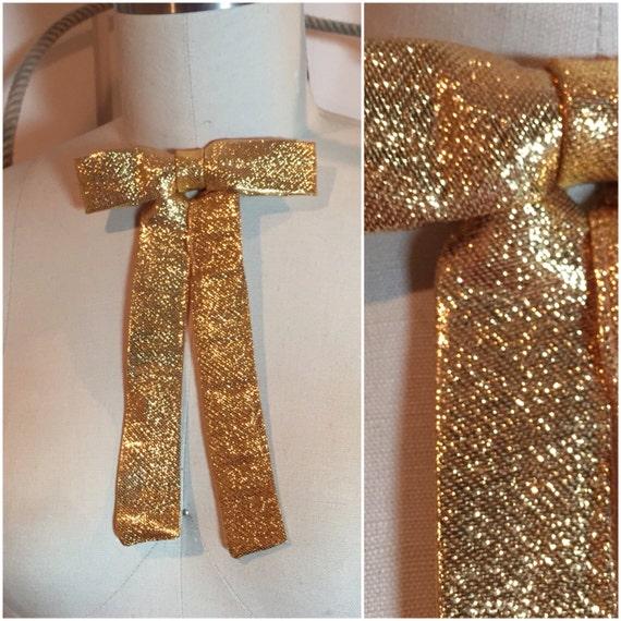 metallic gold lam 233 western clip on colonel tie