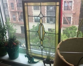 Vintage stained glass framed window hanging privacy screen
