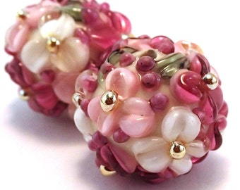 Gilded Raspberry Cream Floral Rounds