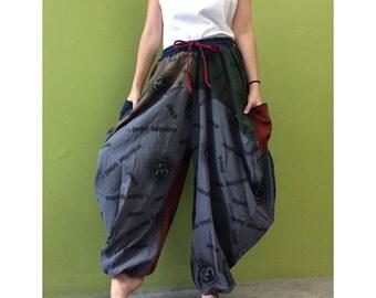 Hippie Gypsy Ohm Cotton Patchwork Pockets Unisex Long Harem Yoga  Pants S-L (Oh5)