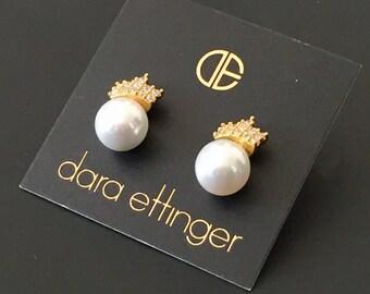 Dara Ettinger Crystal, pearl and metal leaf  earrings