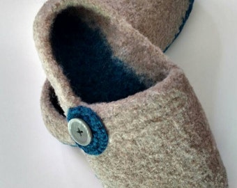 Felted, Boiled, Wool Knit Slippers, House Shoes, US Sz 8
