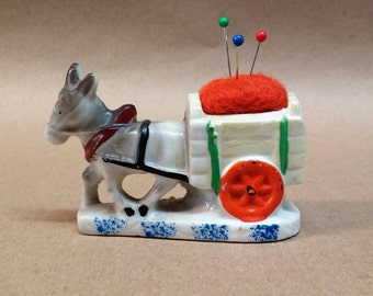 Vintage Donkey pulling Cart Pin Cushion