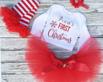 Baby Girl First Christmas Outfit - Christmas Tutu - My First Christmas - Santa Pictures