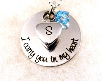 I Carry You In My Heart - Ashes Heart Charm - Birthstone Remembrance Memory Necklace - Infant Loss Mom Dad