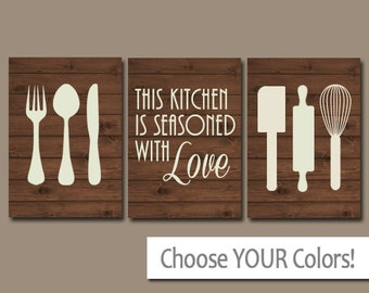 KITCHEN Wall Art, CANVAS or Prints, Utensil PICTURES, Kitchen Quote Artwork, Wood Seasoned with Love, Set of 3 Housewarming Gift, Home Decor