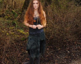 Hippie Skirt - Festival Skirt - Boho Skirt - Womens Skirt - Gypsy Skirt - Hand Dyed Skirt - Pixie Skirt - Black Skirt - Post Apocalyptic