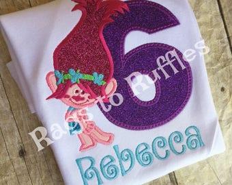 Personalized Troll Birthday Shirt - Troll Inspired Birthday Shirt - Monogrammed Birthday Shirt -Poppy Birthday Shirt