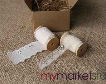 2 Spools of Lace and Eyelet Trim/Pale Blush/Wooden Spools/Gift-Boxed/Decorative Accessory/Scrapbooking Supplies/Sewing Supplies
