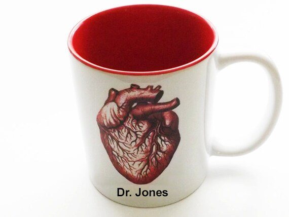 Custom Medical Student Graduation Anatomical Heart Mug personalized gift doctor student nurse coffee cup anatomy goth white coat ceremony